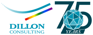 Dillon logo with pride flag and 75th logo