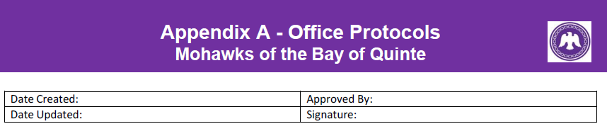 Appendix A Office Protocols Mohawks of the Bay of Quinte