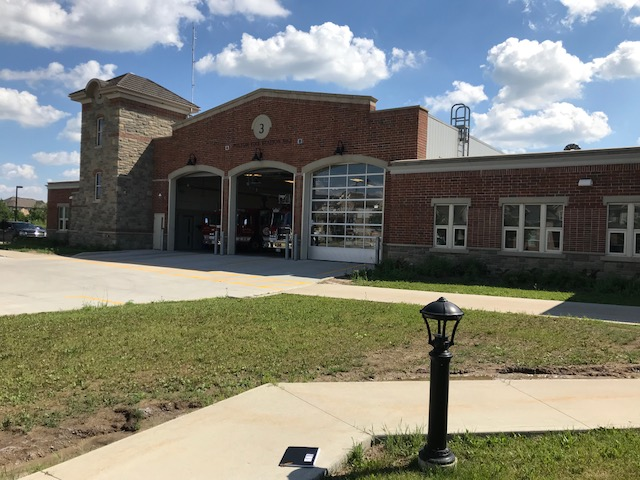 Large brick building. Fire Station 3