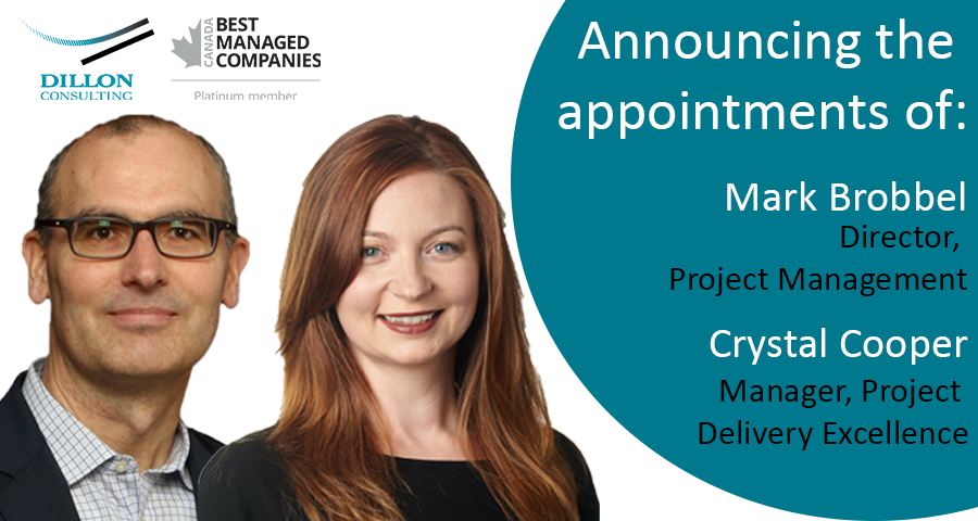 Announcing the appointments of Mark Brobbel to director, project management, and Crystal Cooper to Manager, Project delivery excellence