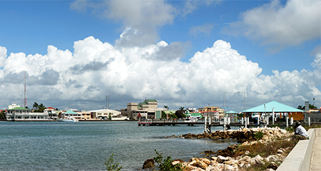 The panoramic view of boats arriving to Belize City