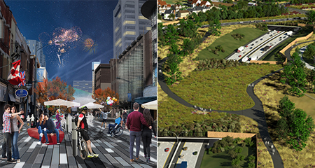 Dundas Place rendering (right) and Herb Gray Parkway rendering (left)