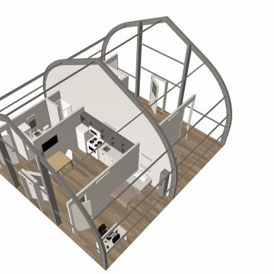 Floor plan of mobile medical unit set up as housing