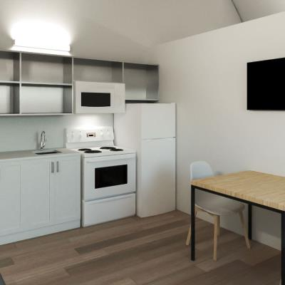 kitchen in mobile unit set up as housing
