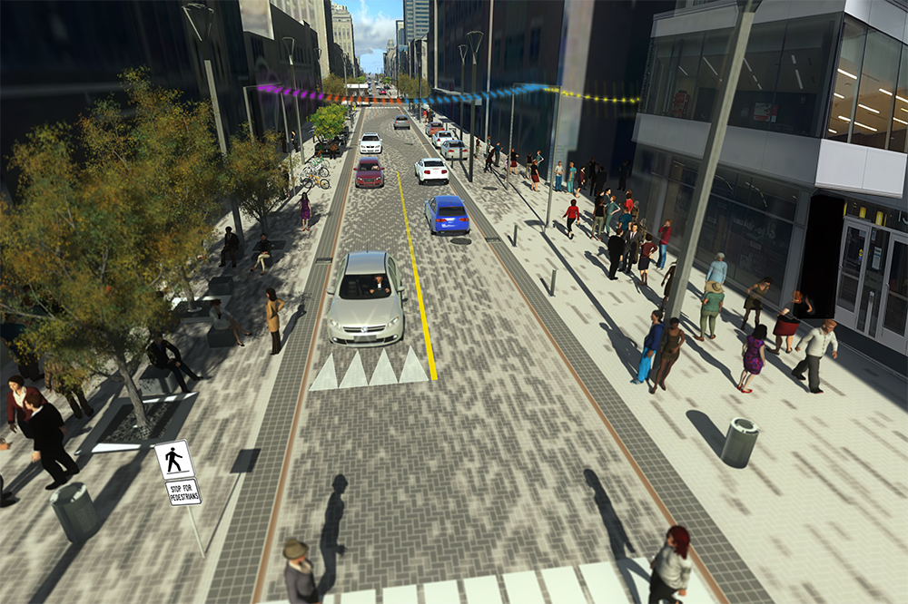 Dundas Place Rendering, Talbot Street to Richmond Street (looking towards Fanshawe College)