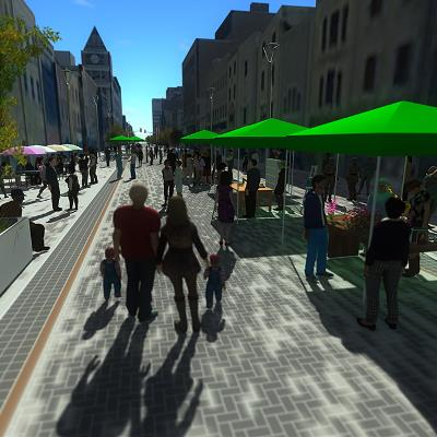 Dundas Place Rendering, Clarence Street to Richmond Street Event (Street Festival Setup)