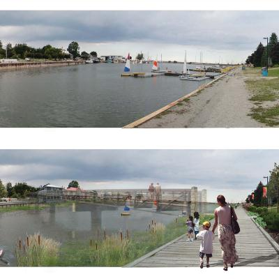 Before/after view of waterfront with proposed boardwalk and park areas