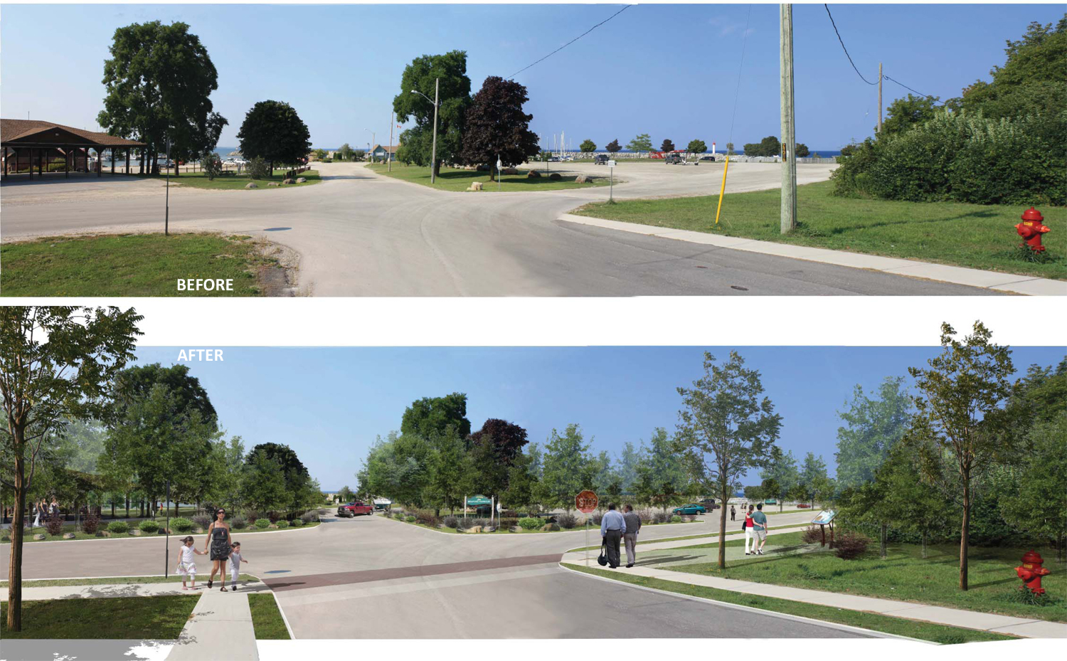 Before/After view of waterfront roadways and pedestrian use