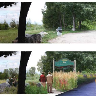Before/after view of waterfront forested park with proposed boardwalk