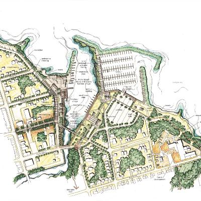 Waterfront plan aerial drawing of green spaces