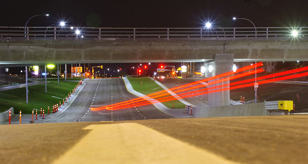 Waverley Underpass at night, open roadway