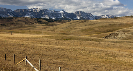 Canadian Rockies and Prairies in foreground